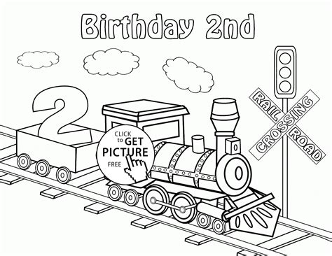 second birthday coloring pages happy 2nd birthday card with train coloring page for kids