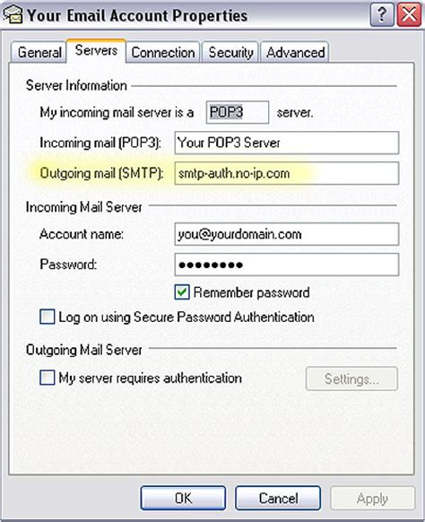 no ip using outlook express with no ip alternate smtp service