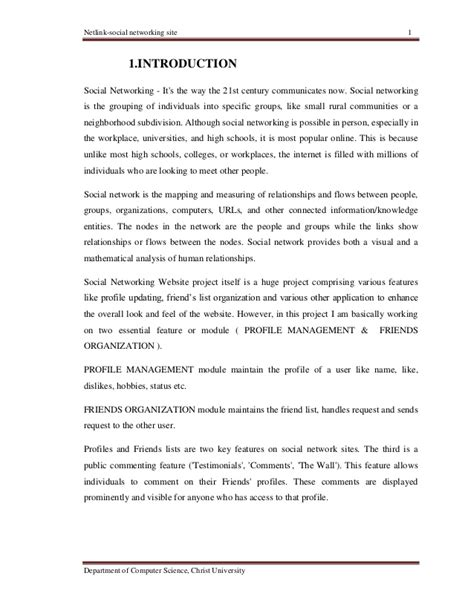 network design proposal introduction social networking site full documentation