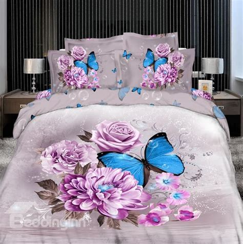Elegant Purple Flower With Butterfly Print 4 Piece Bedding Flower Bed Set