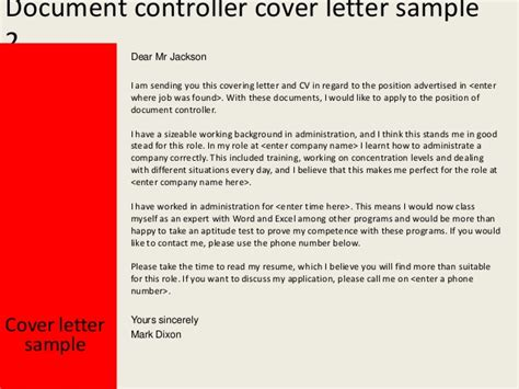 cover letter for documents document controller cover letter