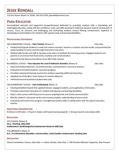 Free Sle Resume Paraeducator Free Parateacher Resume Exle