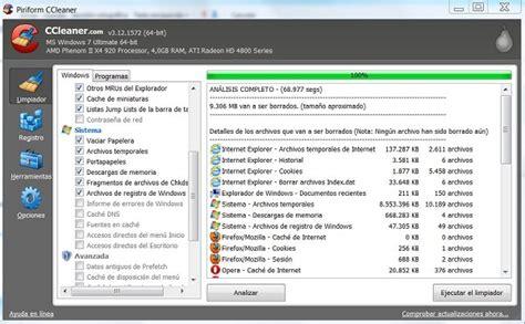 ccleaner que debo borrar ccleaner 3 12 programa para borrar archivos innecesarios