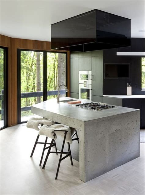 disenos de cocinas revestidas  cemento pulido como