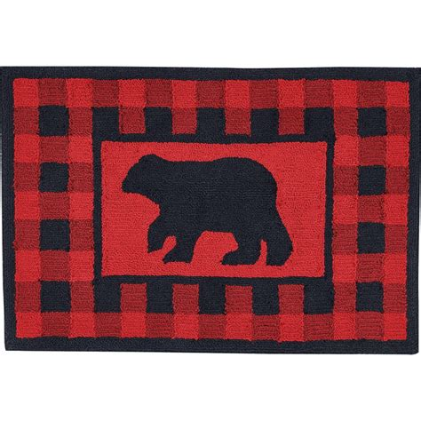 buffalo plaid hooked bear rug