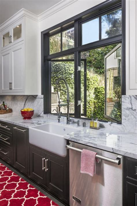 transitional kitchen with gray cabinets and farmhouse sink photo page hgtv