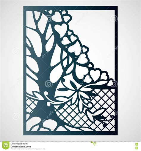 card tree template openwork card with tree and hearts stock vector image
