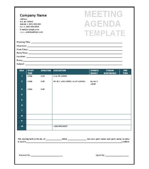 meeting template 51 effective meeting agenda templates free template