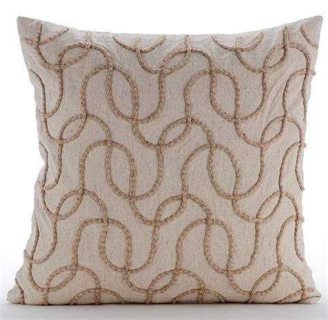 beige throw pillow covers 20x20 embroidered linen