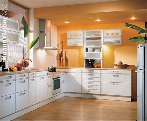 orange wall paint kitchen cabinets white