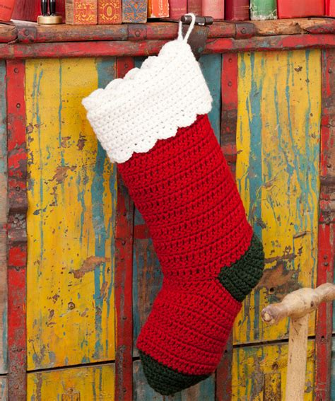 simple pattern for christmas stocking quick easy stocking crochet pattern red heart