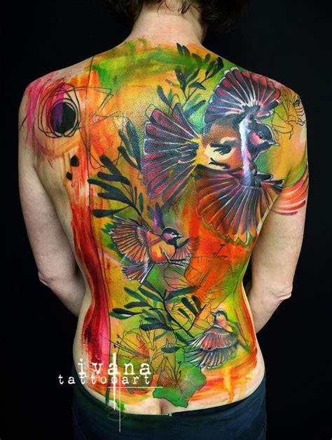 Birds Flowers Watercolor Back Tattoo Best Tattoo Bird Designs On Back