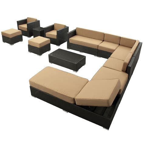rattan patio furniture sets lexmod fusion 12 outdoor rattan patio furniture set