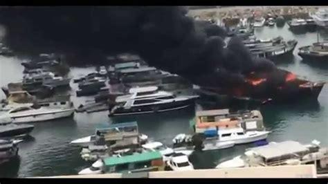 fire boat hong kong hong kong boat fire leaves five injured bbc news youtube