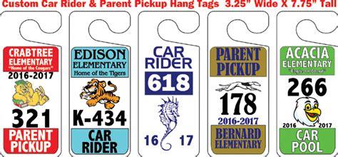 Parent Pickup Hang Tags Car Rider Passes Car Pool Hang Tags Car Rider Sign Template