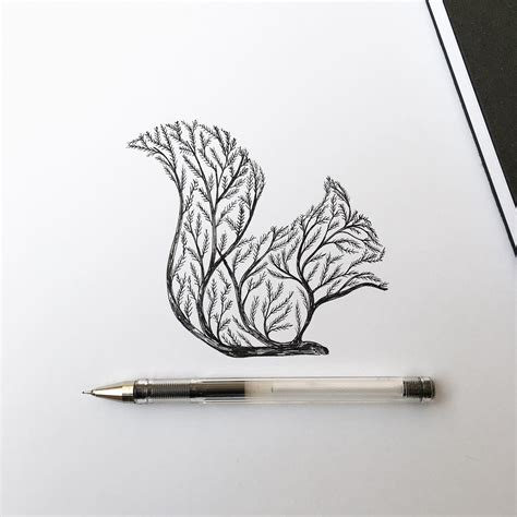 ink depictions  trees sprouting  animals