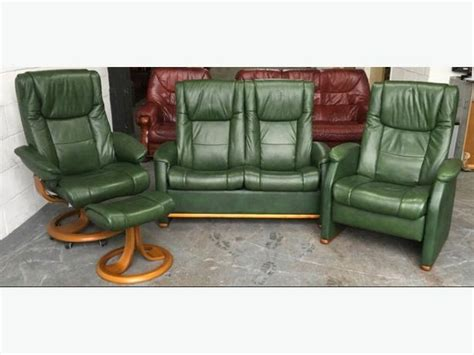 green reclining sofa ekorness style stressless green leather recliner sofa set