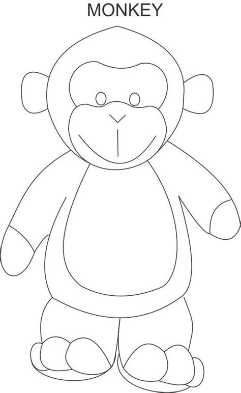 free printable monkey template monkey coloring page for animal embroidery