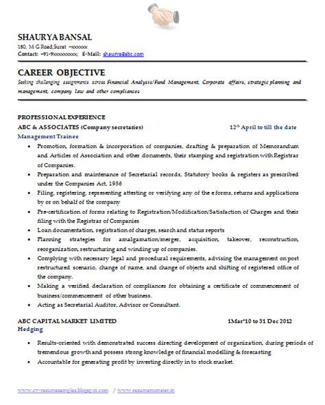 company resume format 10000 cv and resume sles with free best resume format for company