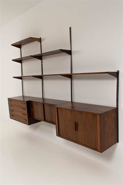 wall mounted shelving unit stylish wall mounted shelving unit by kristiansen for fm m 248 bler at 1stdibs