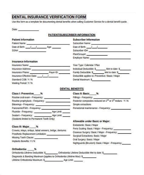 23 Insurance Verification Form Templates Dental Office Forms Templates