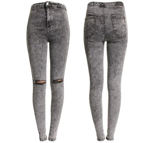 Knee Ripped Washed Premium Quality All Brand New new grey acid wash ripped knee womens high waisted rip cut ebay