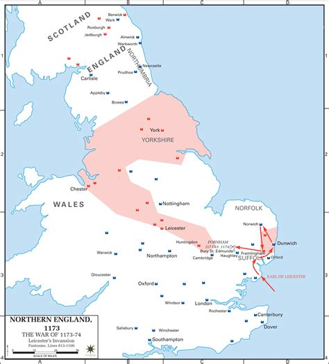 Rebellion On The Northern Line by Map Of The Anglo Norman Rebellion 1173 1174 Leicester S