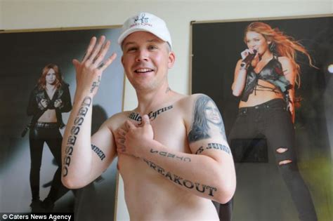 miley cyrus tattoo guy yorkshireman 39 has 15 miley cyrus tattoos inked across