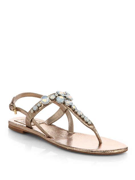 burch silver sandals burch adalynn jeweled metallic leather sandals in