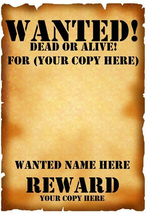 templates for wanted posters wanted poster template fbi and old west free crasy