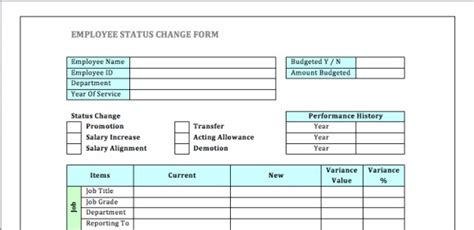 status change form template employee status change forms word excel sles