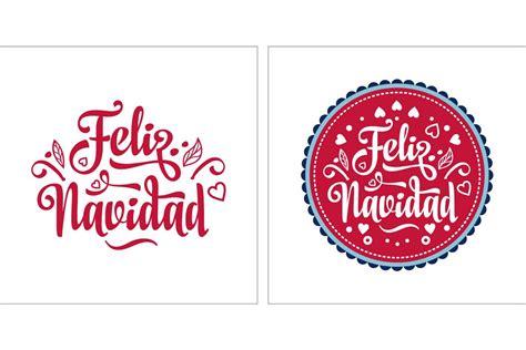 merry christmas feliz navidad lettering composition  phrase  spanish language