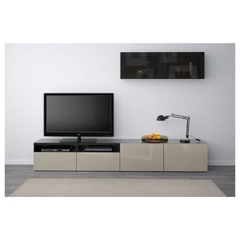 ikea besta black gloss best 197 tv storage combination glass doors black brown selsviken high gloss beige