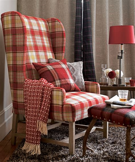 red check armchair tartan decorating ideas ideal home