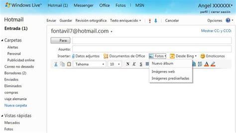 imagenes hotmail el correo de hotmail permite enviar 10 gb de fotos