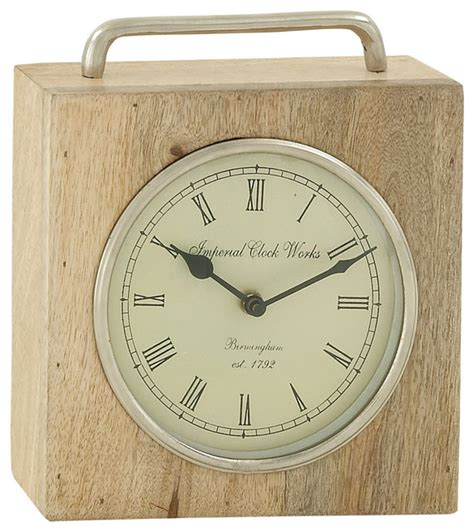 Wood And Metal Table Clock 9 Quot Modern Desk And Mantel Modern Desk Clocks