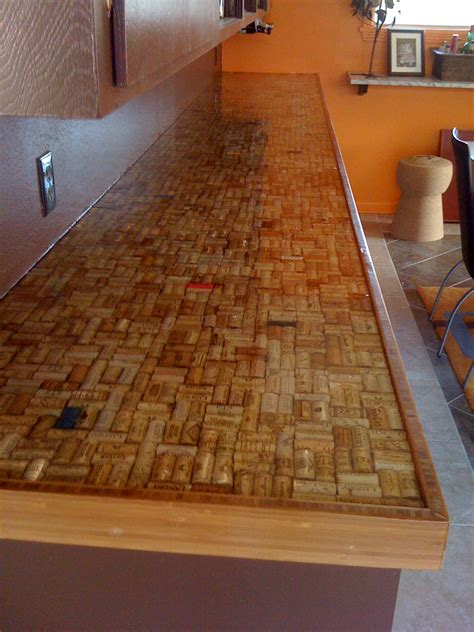wine cork countertop after sealing cork ideas pinterest