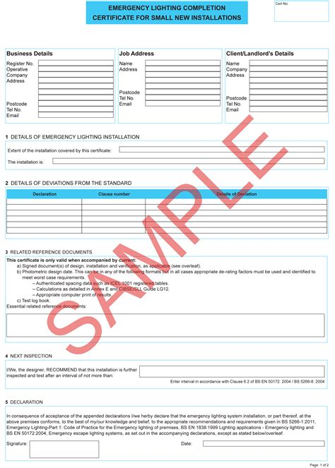 emergency lighting test certificate template choice image