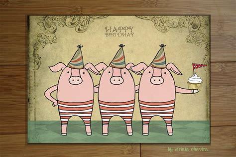Imagenes Vintage Feliz Cumpleaños | los tres cerditos tarjetas cumplea 209 os vintage pinterest