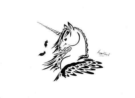 easy unicorn tattoo simple black contour unicorn with falling feathers tattoo