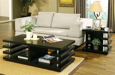 Living Room Table Ideas | living room multi shelves black living room table set