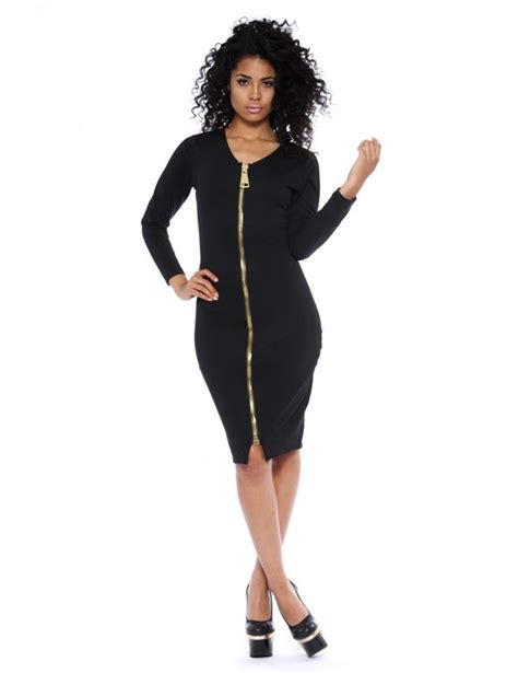 Black Dress With Zipper by Black Sleeve Gold Zipper Front Dress Bodycon
