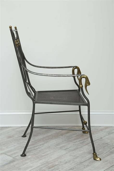 Swan Armchair by Maison Jansen Style Iron And Brass Swan Armchair For Sale