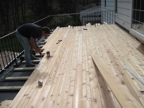 epdm flat roof with a cedar deck in west hartford
