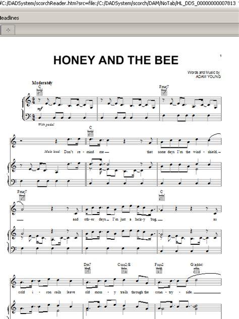 Piano Honey Bee honey and the bee sheet direct
