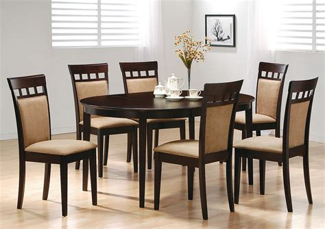 Oval Dining Tables For 6 Compass Furniture Cappuccino Oval Dining Table W 6 Side Chairs
