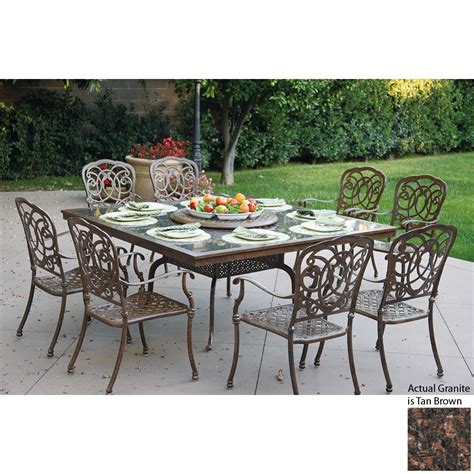Aluminum Patio Dining Set Shop Darlee Florence 9 Antique Bronze Aluminum Dining Patio Dining Set At Lowes