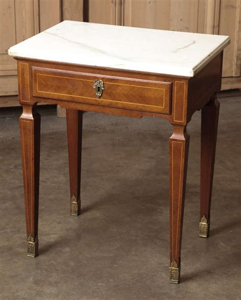 Antique Nightstands With Marble Top by Pair Of Antique Marquetry Marble Top Nightstands At