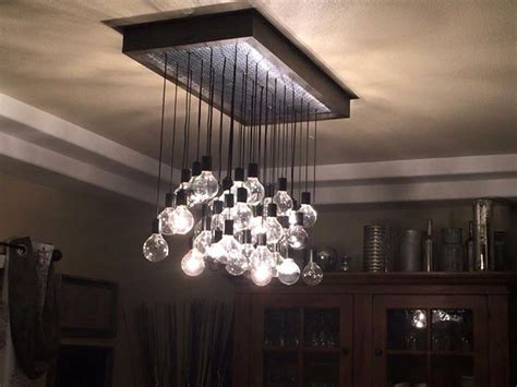 Custom Made Light Fixtures Crafted Wood And Metal Hanging Bulb Chandelier Light Fixture Customized To Your Size