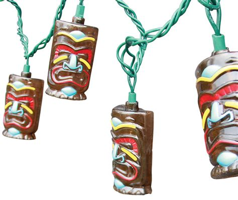 Dei Tiki Face String Lights 10 Count Outdoor Rope And Outdoor Tiki Lights